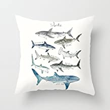 Many Sharks Pillow Covers Kids Bedroom Decor Pillow Case Decorative 18 x 18