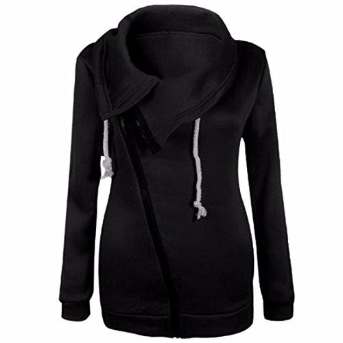QIYUN.Z Chaqueta De Abrigo De La Camiseta De Manga Larga Con Cremallera Para El Otoño Invierno Negro