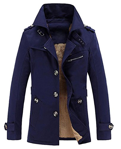 Coat Casual Mens Color Outerwear Blue MK988 Jacket Blazer Dark Trench Cotton Lined Solid Padded qwgnxHfT