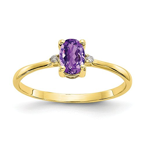 10k Yellow Gold Diamond Purple Amethyst Birthstone Band Ring Size 6.00 Stone February Oval Fine Jewelry Gifts For Women For Her