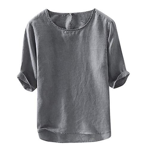 Sendke Fashion Men's Casual Soft Tee Cotton Linen T-Shirt Loose O-Neck Tops Short Sleeve Shirt Gray
