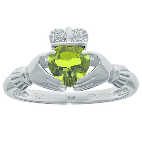 .77 Ct Heart Natural Green Peridot Diamond 925 Sterling Silver Ring Size 6