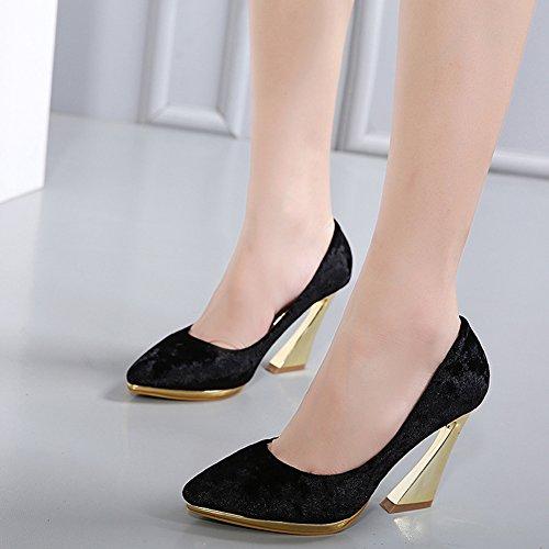 Aisun Womens Spitse Teen Laag Uitgesneden Chic Elegante Trouwplatform Slip Op Hoge Hakken Pumps Schoenen Zwart