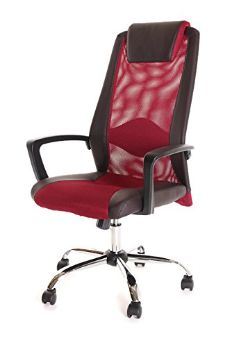 TimeOffice High Back Leather & Red Mesh Office Task Chair With Arms, Air Grid Dark Back Lumbar Support & Brown Leather Seat, Executive Ergonomic Computer Swivel Chair, PU Leather Headrest - (Air Grid Seat Executive Chair)