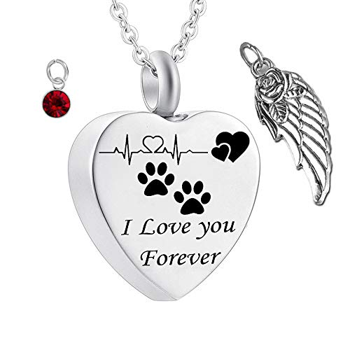 misyou Charms Urn Necklace for Ashes Pet Dog Paw Prints Heart Necklace Stainless Steel Birthstone Keepsake Memorial Cremation Jewelry (January)