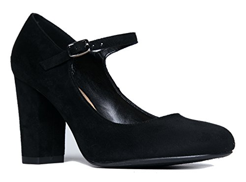Mary Jane High Heel - Cute Round Toe Block Heel - Classic Comfortable Easy Dress Shoe - Skippy by J Adams, Black Suede, 6 B(M) US