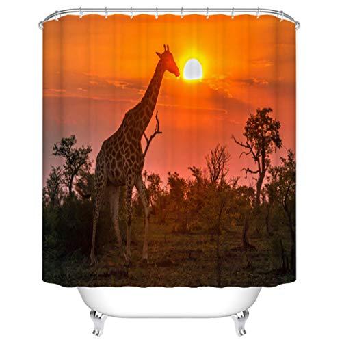 "BEISISS Fabric Shower Curtain Giraffe in Kruger National Park South Africa Bathtubs Bath Curtain Bathroom Decor Shower Curtains with 12 Hooks 66""x72"""