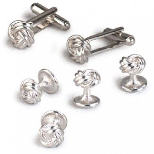 Double Knot Tuxedo Cufflinks and Studs Set Silver Trim (Double Link Trim)