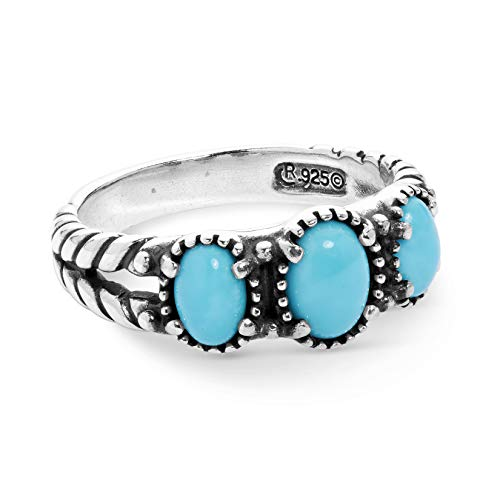 American West Sterling Silver Blue Turquoise Gemstone 3-Stone Friendship Ring Size 5 (Flowers Indian Ring)
