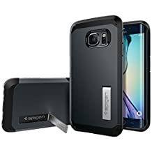 Spigen Tough Armor Galaxy S6 Edge Case with Kickstand Feature and Heavy Duty Air Cushioned Protection for Samsung Galaxy S6 Edge 2015 - Metal Slate
