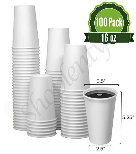 Hot White Paper Cups 16 oz - 100 Count - Disposable Paper Cups for Coffee, Tea, Hot Chocolate (Restaurant Grades)