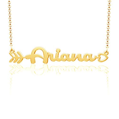 LoEnMe Jewelry Any Name Necklace Of Gold Plated Custom Made With Arrow Love Heart Sterling Silver Personalized Bridesmaid Gift