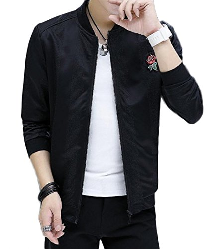 Autumn New Men Slim Baseball Uniform Jacket(Black) - 8