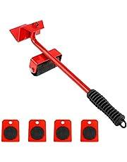 رافعة أثاث شديدة التحمل 5 قطع من Mainstayae مع 4 مزلقات نقل الأثاث مجموعة أدوات اليد