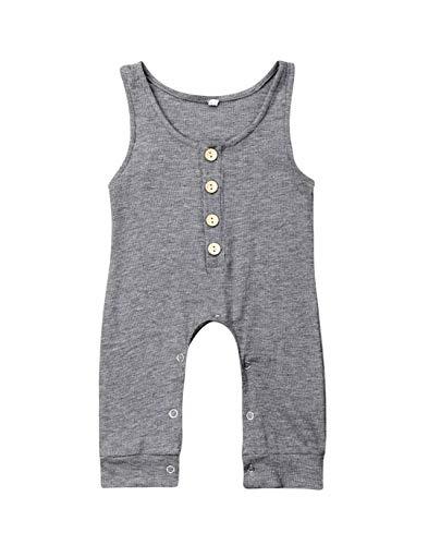 VISGOGO Newborn Baby Girls Boys Kid Solid Colour Bodysuit Sleeveless Romper Jumpsuit + Headband 2PCS Clothes Sets (D-Gray, 9-12 Months)