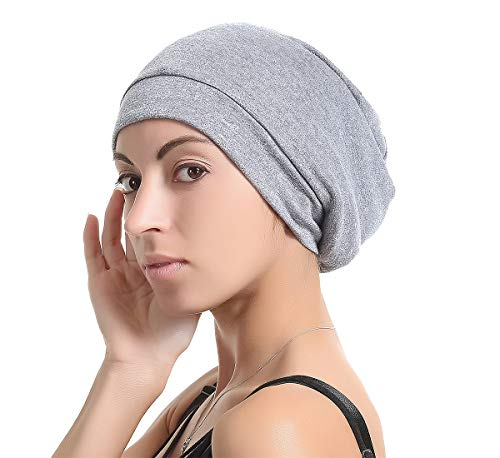 Slap Night Cap Sleep Hat -Navy Blue Women Organic Bamboo Cotton Satin Silk Satun Satin lined Bonnet Slouchy Summer Scarf Hair Cover Beanie For Women Men Lady Lightweight Light Thin Jersey Chemo ()