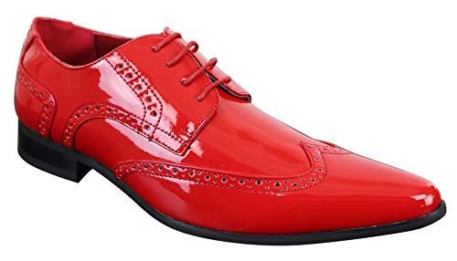 Décontracté Cuir Vintage Verni Chic Chaussures Formel Brogues Homme Rouge Simili Brillant Style xFEzT4