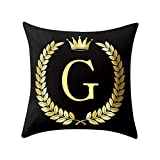 Letter Pillow Case Covers Bronzing Throw Pillow Case 18x18'' English Alphabets Cushion Cover Modern Square Pillowcase for Home Sofa Couch Decor (G)