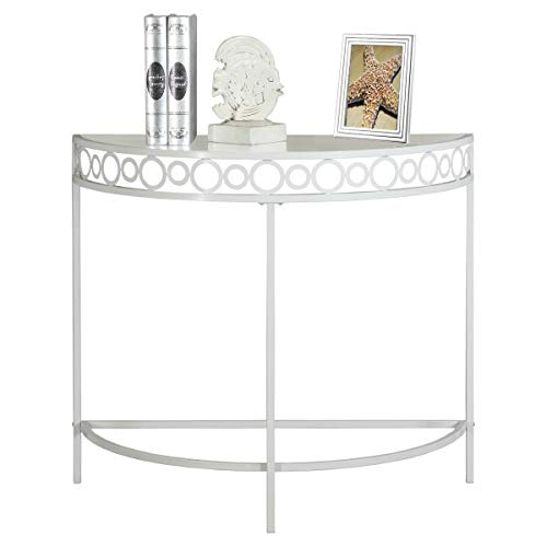 White Hallway Console Half Moon Table Entryway Furniture Display Storage Glass Shelf Telephone Stand Home Office Living Room Side Table Circles Accent