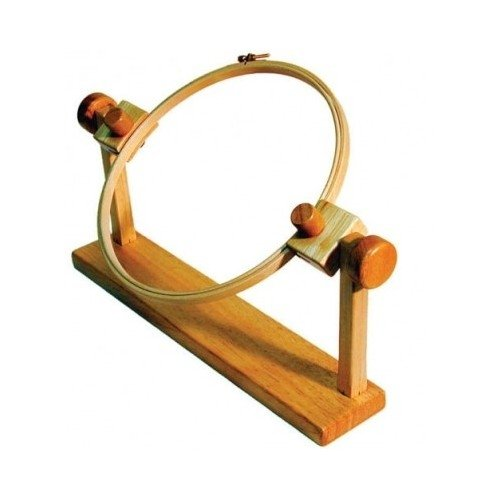 Wood Needlework Frame Hoop with Stand Solid Hardwood Needlepoint ()