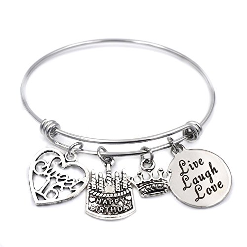 Stainless Steel Adjustable Wire Charm Bangle Sweet 16 Happy Birthday Jewelry 16th Birthday Gifts for Girls