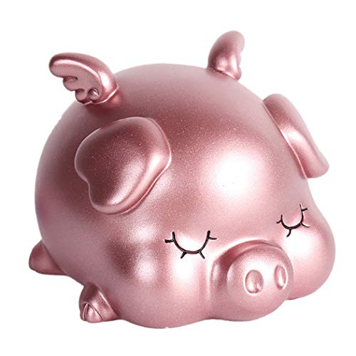 JUSTDOLIFE Piggy Bank Cartoon Cute Wings Pig Decorative Coin Bank Gift Money Bank