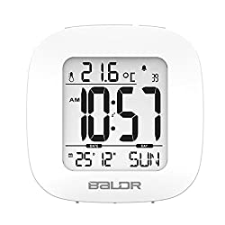 Besty-kt Alarm Clock Elegantly Designed Mini Snooze Multi-Function Time Temperature Display Calendar Function Travel Clocks White Backlight Table Clock, White
