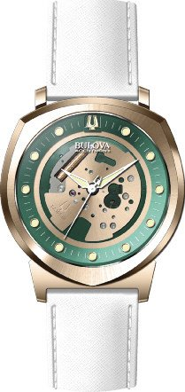 (Bulova Accutron II Green and Gold Dial SS Leather Quartz Ladies Watch 97A111)