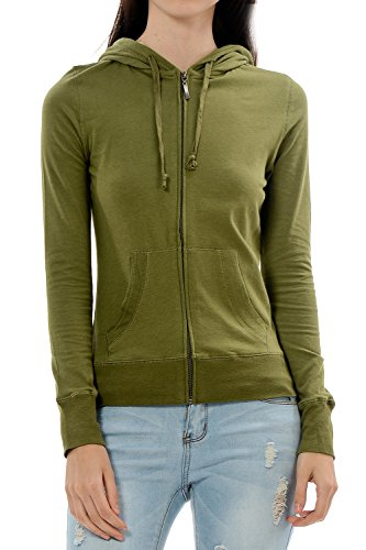 YourStyle Basic Solid Casual Light Weight Zip Up Hoodie Jackets (X-Large, Olive) (Hoodie Basic Jacket Women)