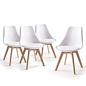 Home Heavenly® – Pack 4 sillas Comedor salón, Silla diseño nórdico con Asiento Acolchado, TULIPA en Blanco o Gris… 41Dgk5eUQeL