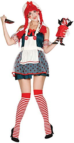 Ladies Demented Doll Scary Broken Voodoo Halloween Horror Fancy Dress Costume Outfit (UK 10-12)
