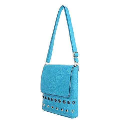 iTal-dEsiGn Damentasche Kleine Schultertasche Used Optik Umhängetasche Kunstleder TA-B473 Hellblau v0nNyr
