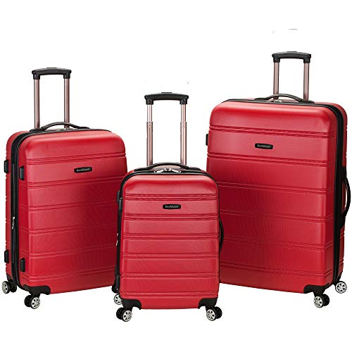 Rockland Melbourne 3 Pc Abs Luggage Set, Red ()