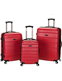 Rockland F160 Melbourne Abs Luggage Set, Red, Medium, 3-Piece