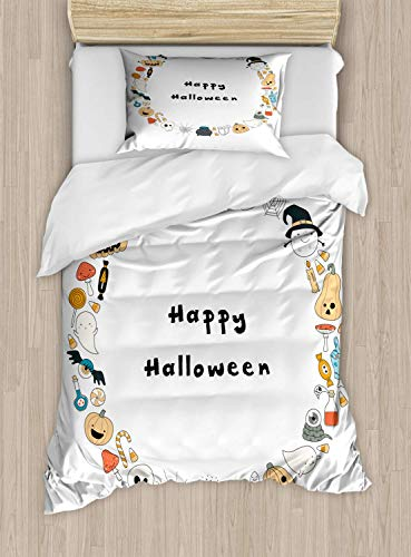 Luxury Halloween 2 Piece Bedding Set Twin Size, Happy Halloween Spooky Theme Pumpkin Ghosts Spider Web Line Drawing Circle Frame, 2PCS Duvet Cover Set with 1 Pillow Case for Kids/Teens/Children Room ()