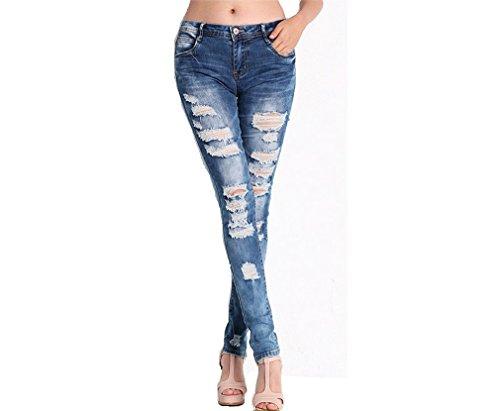 Button Fuweiencore Blu Donna Zipper Bassa Con Buchi Front Pantaloni Skinny Jeans A Vita Da rHOfXAH