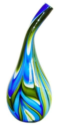 "Hand-Blown Glass Art 9"" Dia base X 20"" Tall"