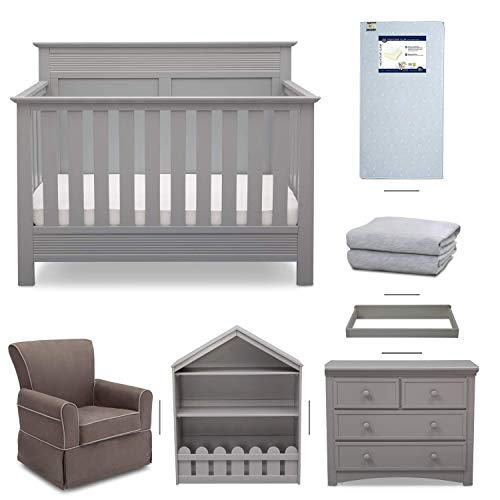 Crib Furniture - 7 Piece Nursery Set with Crib Mattress, Convertible Crib, Dresser, Bookcase, Glider Chair, Changing Top, Crib Sheets, Serta Fall River - Gray/Gray