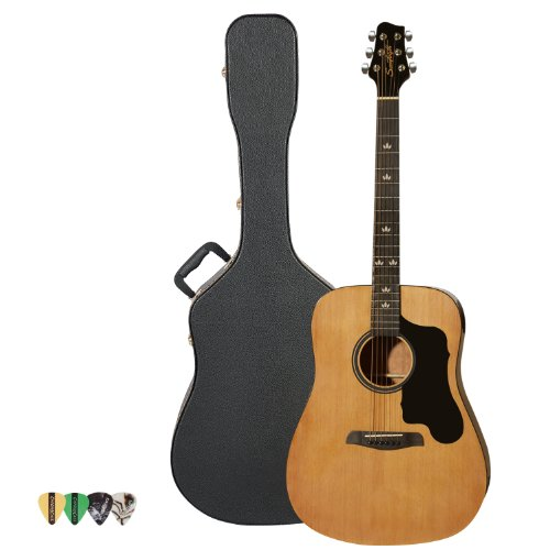 Sawtooth Acoustic Guitar with Black Pickguard - Includes: Picks & Hard Case by Rise by Sawtooth