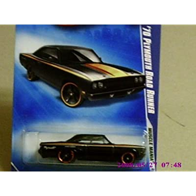 2009 Hot Wheels Muscle Mania Black '70 Plymouth Road Runner w/ Black OH5SPs #079 (03 of 10): Toys & Games