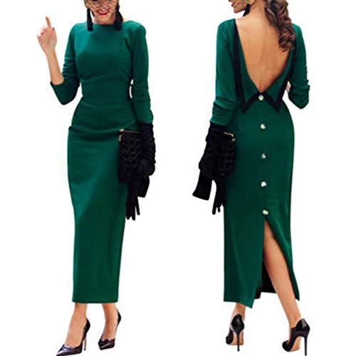Heartell Ladies Formal Dress Sexy Open Back Boat Collar Long Sleeve Bodycon Evening Party Maxi Dress (US12, Atrovirens)
