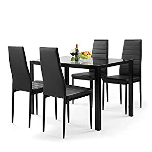 Yileiduo , 5 Pieces Dining Table Set for 4,Kitchen Room Tempered Glass Dining Table,4 Faux Leather Chairs,Black