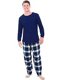 Mens Flannel Pajamas, Thermal Knit Top Cotton Pj Set