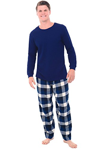 - Alexander Del Rossa Mens Flannel Pajamas, Thermal Knit Top Cotton Pj Set, Medium Blue Navy and White Plaid (A0706Q37MD)