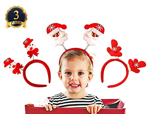 Ginfonr Christmas Headbands Headwear Hair Bands Santa Claus Snowman Reindeer Antlers for Adult Kids Party Favors Holiday Xmas Decoration Photo Booth Cosplay (3 Pack, One Size Fits All)]()