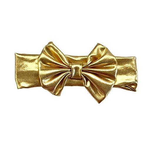 (Cute Kids Clothing Baby Girl Toddler Metallic Gold Big Messy Bow Headband)