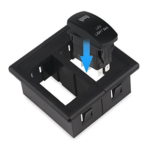 (WATERWICH Toggle Rocker Switch Holder Rocker Switch Panel Holder Housing Kit Black Single/Middle/Side Fireproof ABS Plastic Holder For Car Automobiles Motorcycle Truck Boat Marine (Pack of 2))
