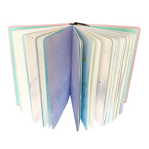 Siixu Unique Colored Notebook, Unlined Novelty Journal to Write in for Women/Men, Girl/Boy, Chic Composition Notebook with Bookmark, Nice Art Designed, 224 Pages, Blue -