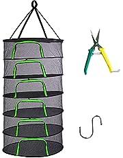 Herb Drying Rack Net 8 Layer hanging Drying Rack Net with Green Zipper, 60cm diameter Plant Drying Rack Net with Pruning Scissors, Hook, for Drying Seeds, Herb, Bud, Hydroponic Plants