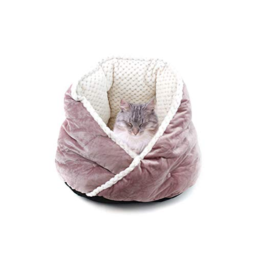 Pet Dog Bed Round Cuddle Nest Snuggery Burrow Blanket Pet Bed Removable Cover for Dog Cat Winter Warm Sleeping Kennel (Purple, One Size)